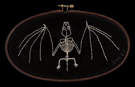 bat skeleton embroidery